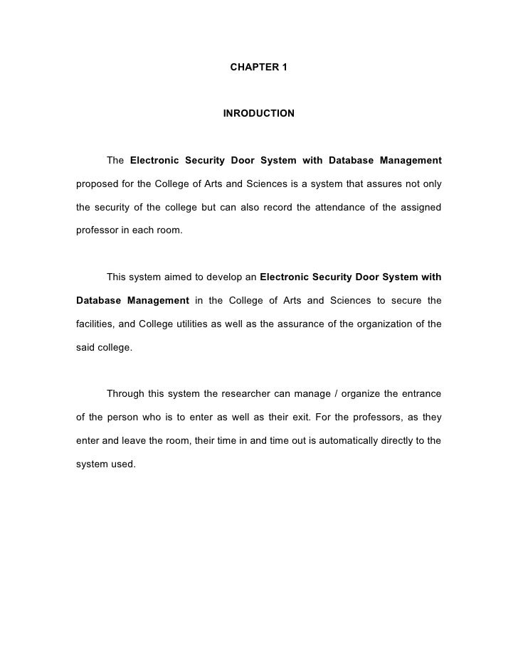 CHAPTER 1                                  INRODUCTION       The Electronic Security Door System with Database Managementp...
