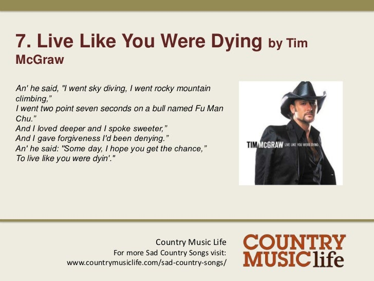 MCGRAW TIM - LIVE LIKE YOU WERE DYIN' LYRICS