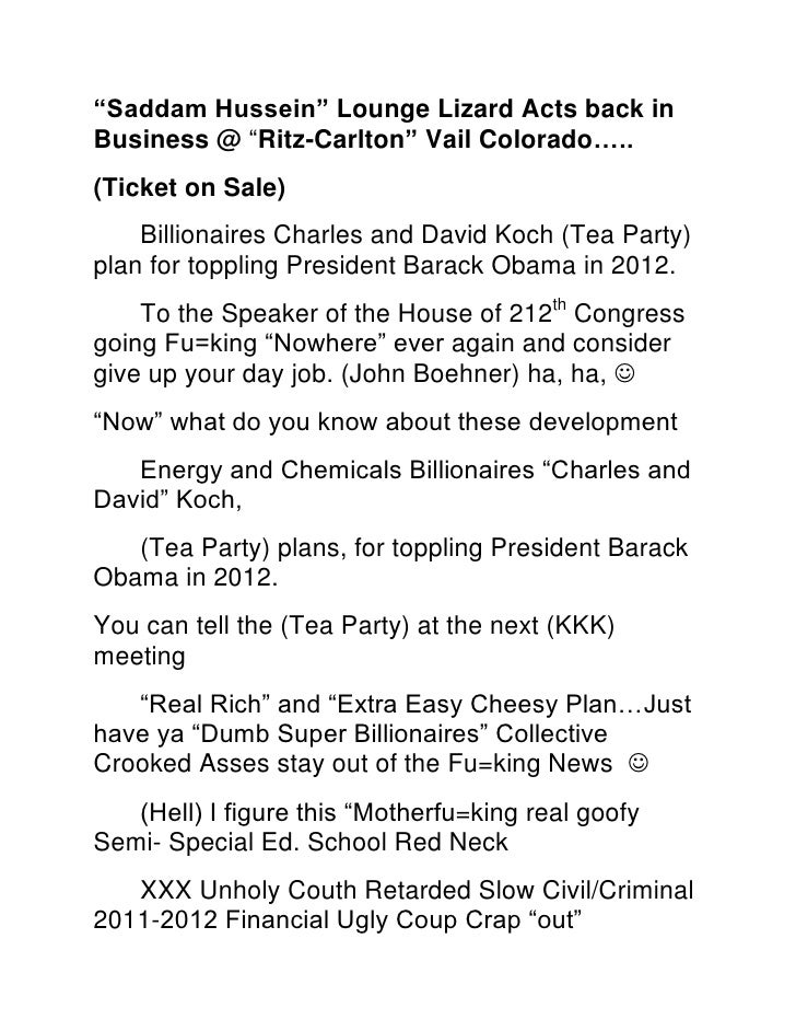 """Saddam Hussein"" Lounge Lizard Acts back in Business @ ""Ritz-Carlton"" Vail Colorado…..<br />(Ticket on Sale)<br />Billiona..."