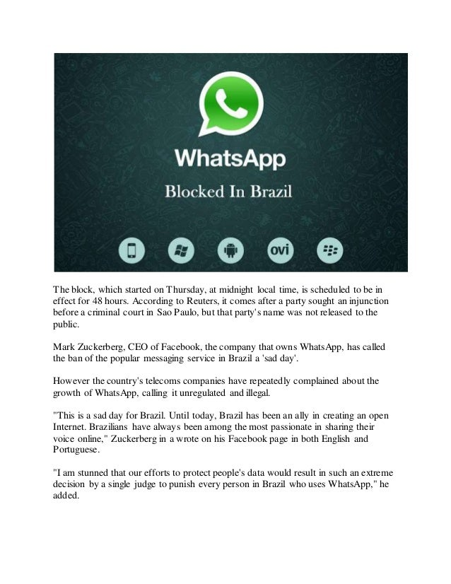 Sad Day For Brazil Said Mark Zuckerberg Whatsapp Blocked