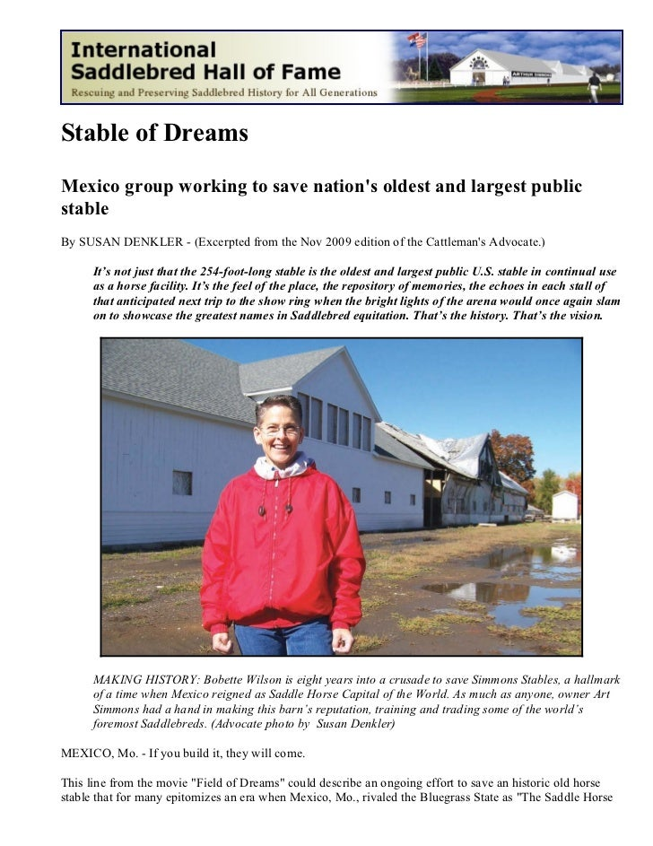 Stable of DreamsMexico group working to save nations oldest and largest publicstableBy SUSAN DENKLER - (Excerpted from the...