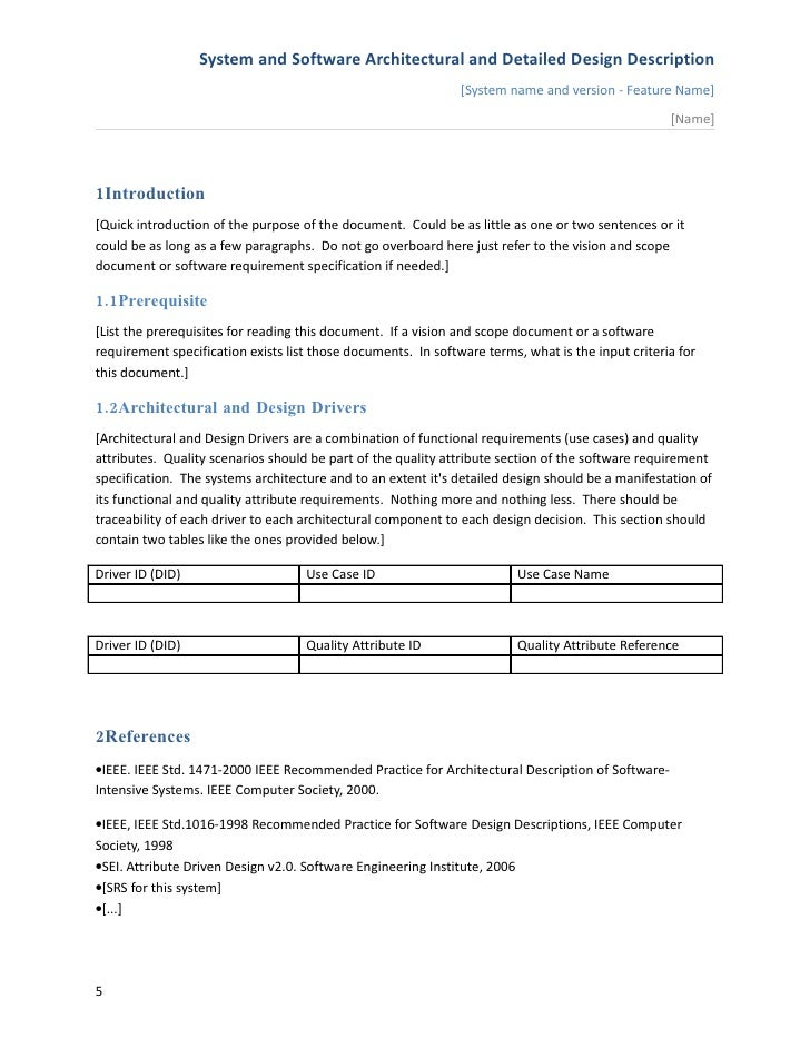 System Specification Document Software Design
