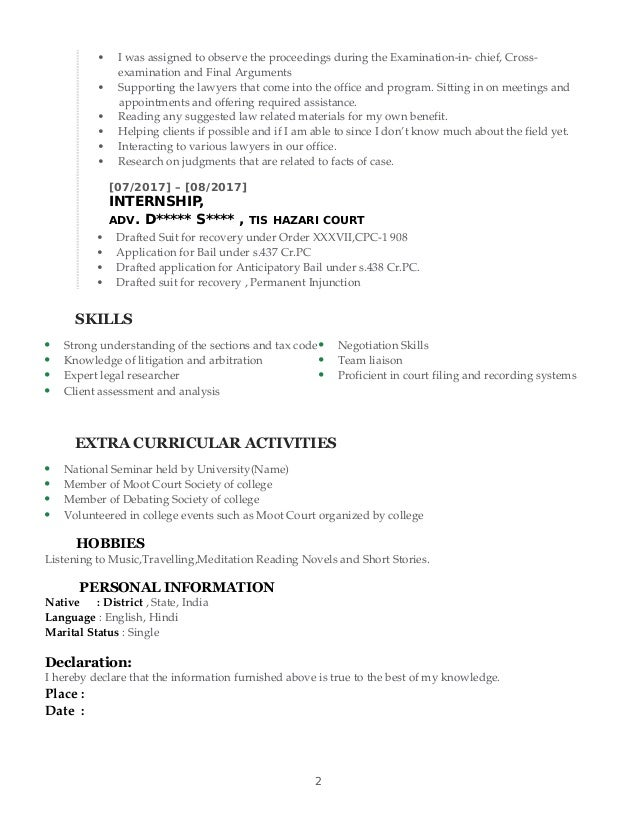 Sample Cv For Fresh Law Graduate With Engineering Degree