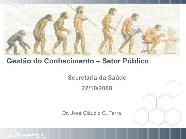 Gestão do Conhecimento – Setor Público Secretaria da Saúde 22/10/2008 Slide  Dr. José Cláudio C. Terra