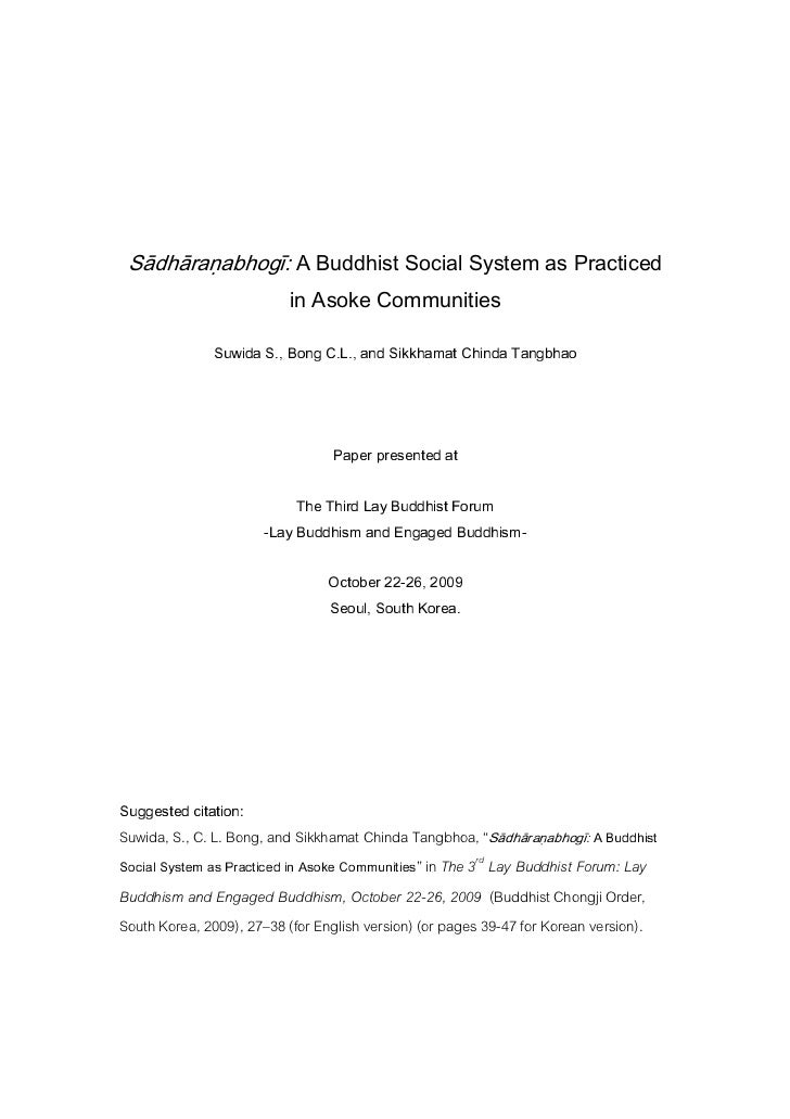 Sādhāraṇabhogī: A Buddhist Social System as Practiced                                          in Asoke Communities       ...