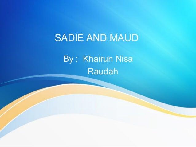 sadie and maud by gwendolyn brooks analysis