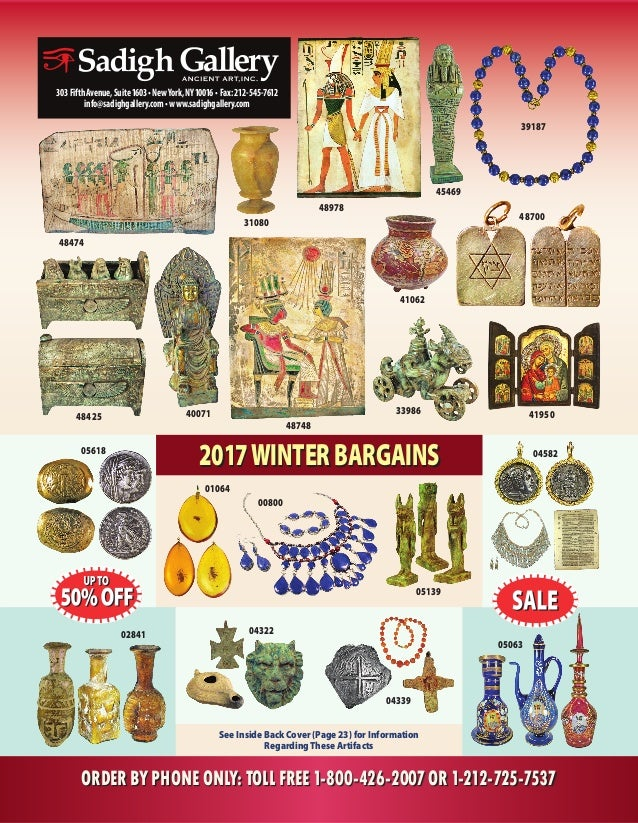 See Inside Back Cover (Page 23) for Information RegardingThese Artifacts 39187 31080 ORDER BY PHONE ONLY: TOLL FREE 1-800-...