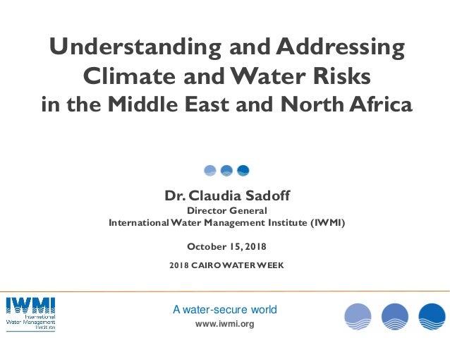 www.iwmi.org A water-secure world Understanding and Addressing Climate and Water Risks in the Middle East and North Africa...