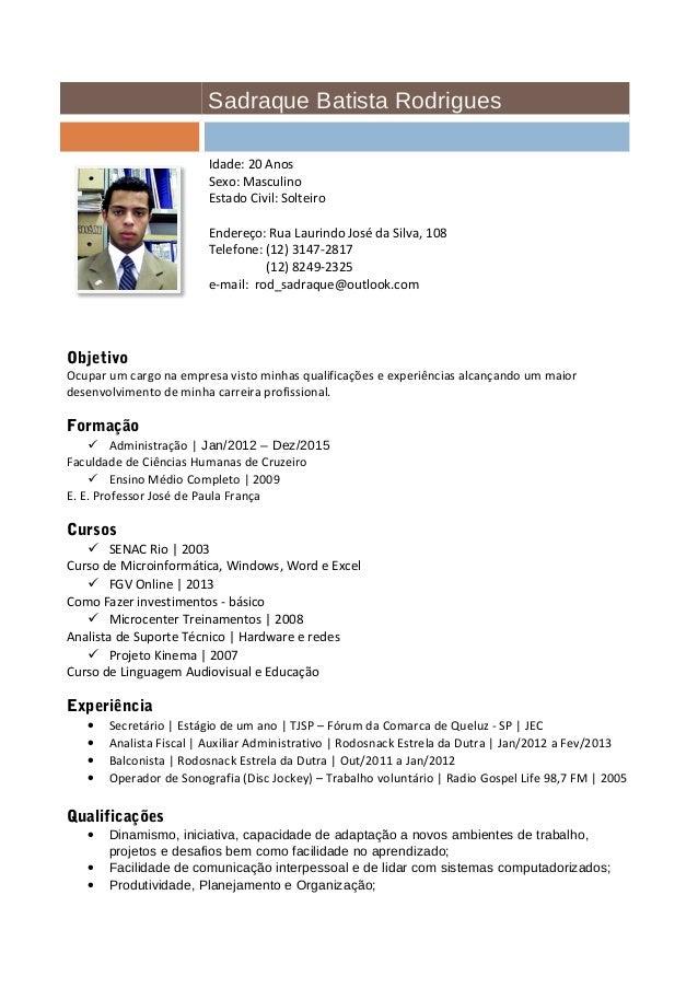 Sadraque Batista Rodrigues Curriculum Atualizado