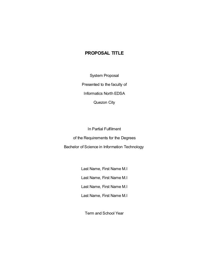 Sad Title Page Template. PROPOSAL TITLE System Proposal Presented To The  Faculty Of Informatics North EDSA Quezon City In Partial