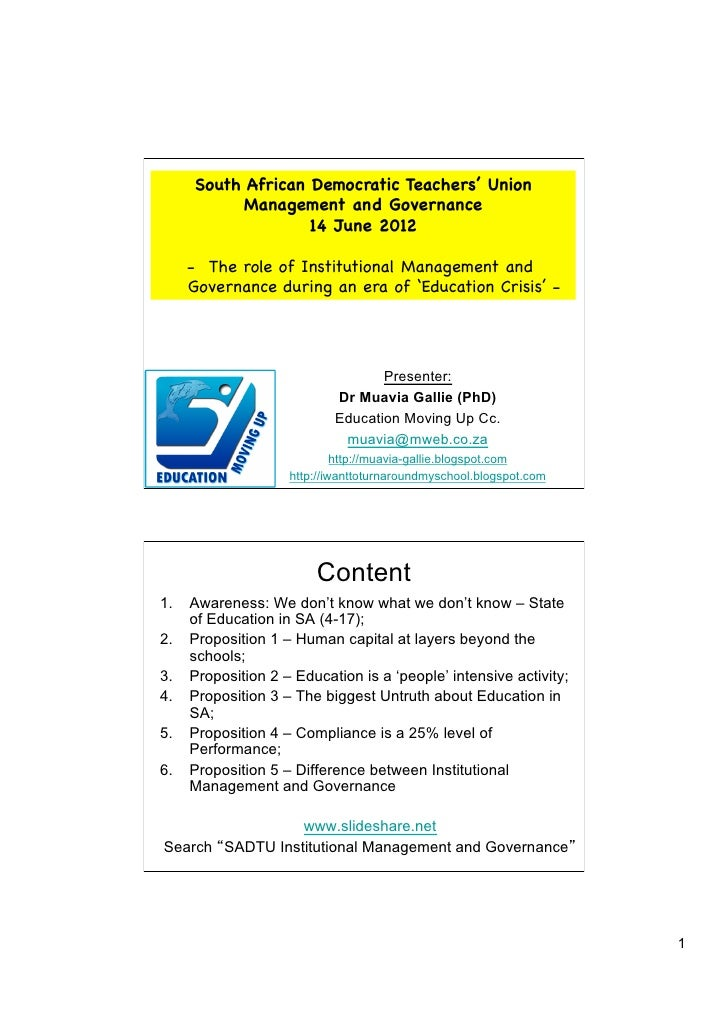 South African Democratic Teachers' Union           Management and Governance                   14 June 2012    - The role...