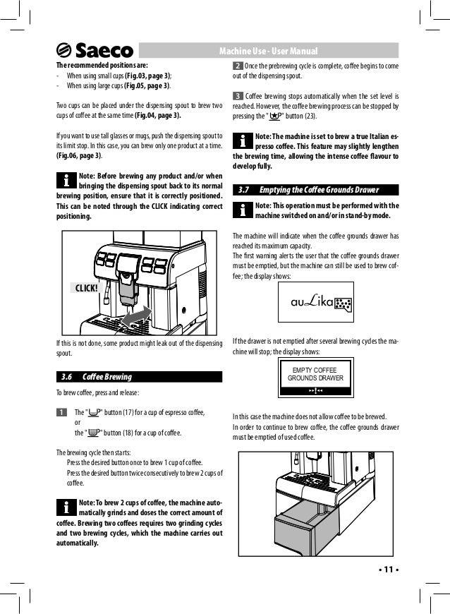 saeco coffee machine instructions