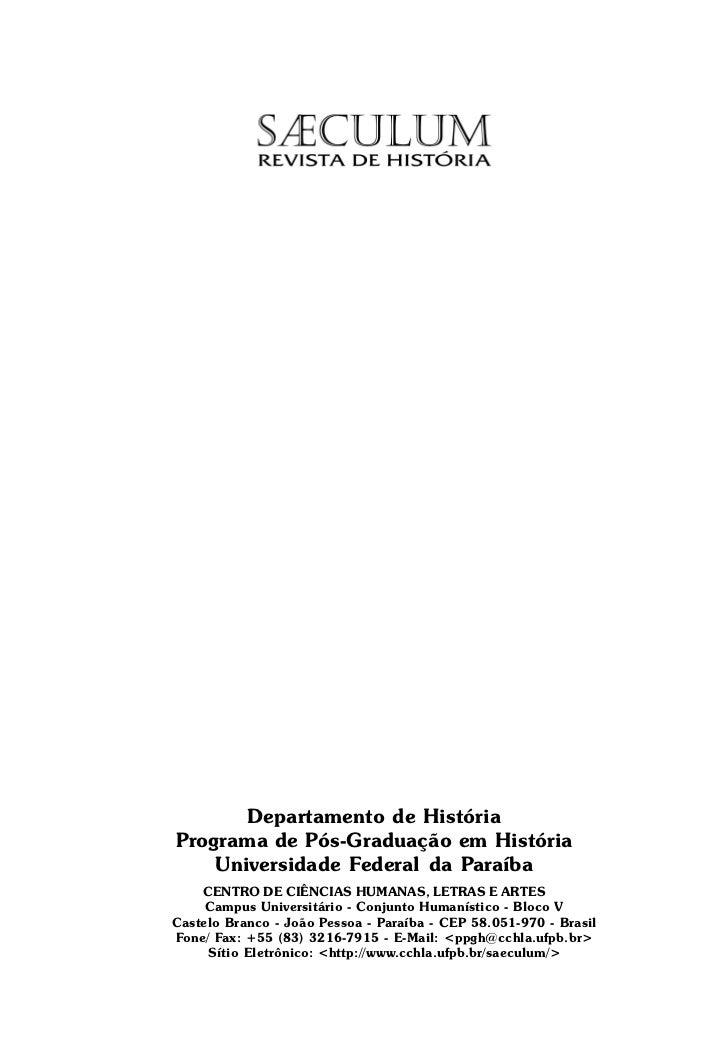 Departamento de HistóriaPrograma de Pós-Graduação em História    Universidade Federal da Paraíba    CENTRO DE CIÊNCIAS HUM...