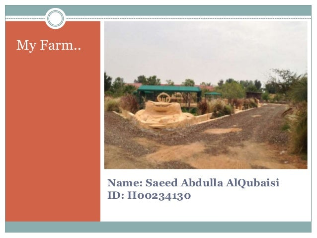 Name: Saeed Abdulla AlQubaisiID: H00234130My Farm..