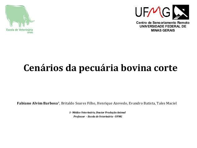 Cenários da pecuária bovina corte Fabiano Alvim Barbosa1 , Britaldo Soares Filho, Henrique Azevedo, Evandro Batista, Tales...