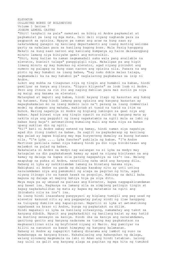 "ELEVATORCOLLECTED WORKS OF BOLSHEVIKSVolume 1 Series 7JOSEPH LEMUEL CASTRO""Shit! tanghali na pala"" namutawi sa bibig ni An..."