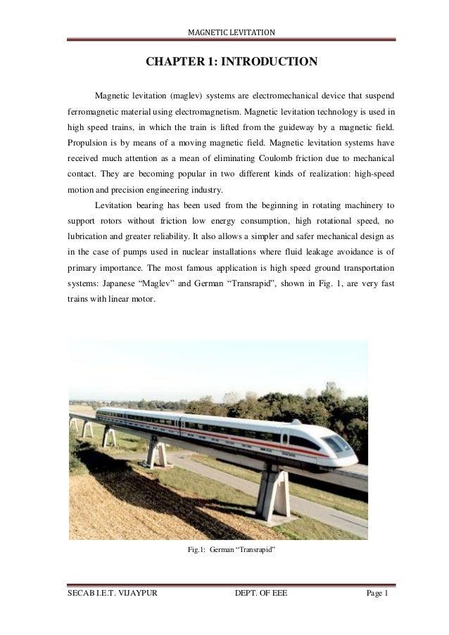 Magnetic Levitation Train by Shaheen Galgali_seminar report final