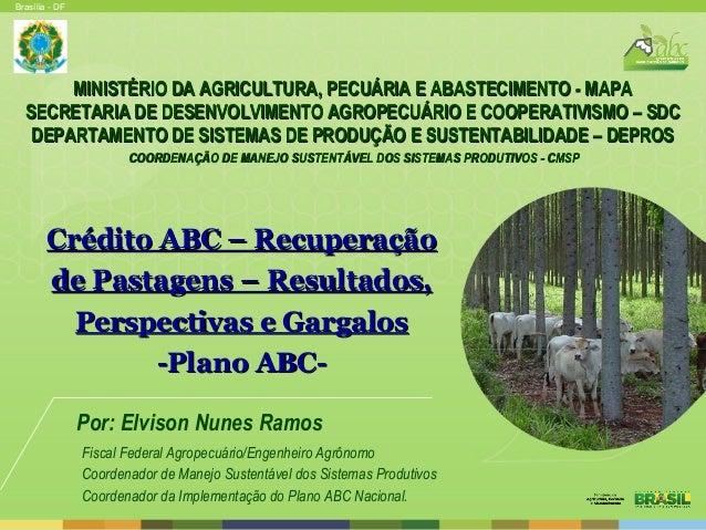 Brasília - DF Por: Elvison Nunes Ramos Fiscal Federal Agropecuário/Engenheiro Agrônomo Coordenador de Manejo Sustentável d...