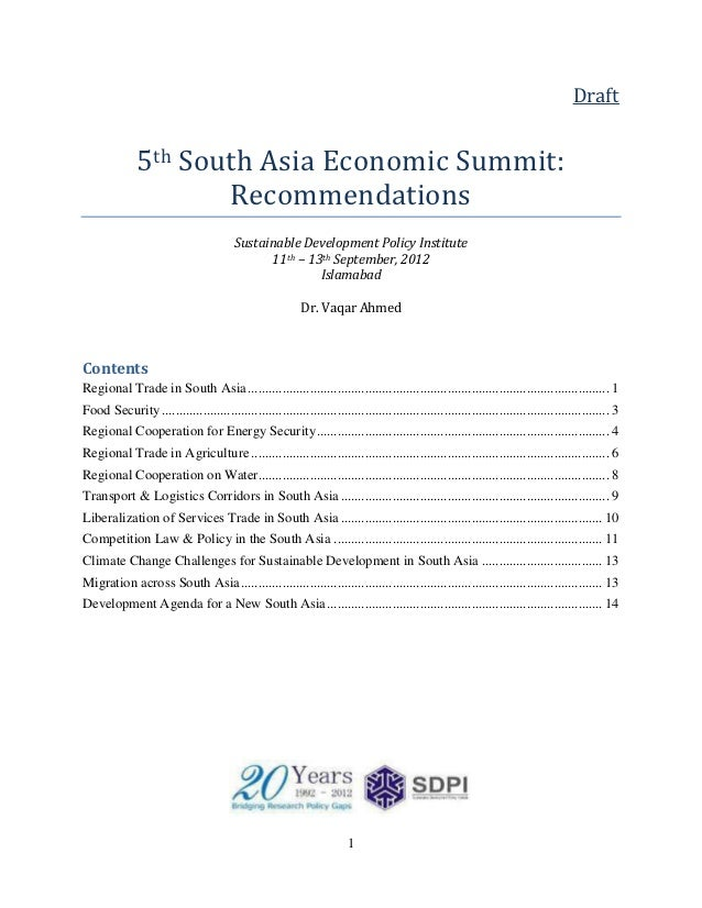 Draft              5th South Asia Economic Summit:                     Recommendations                                    ...