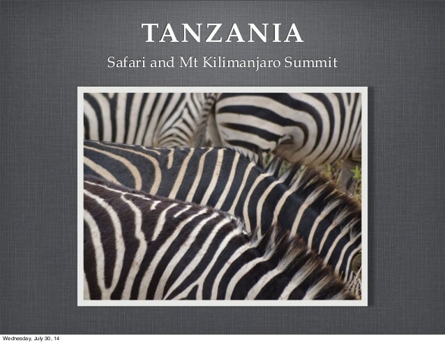TANZANIA Safari and Mt Kilimanjaro Summit Wednesday, July 30, 14