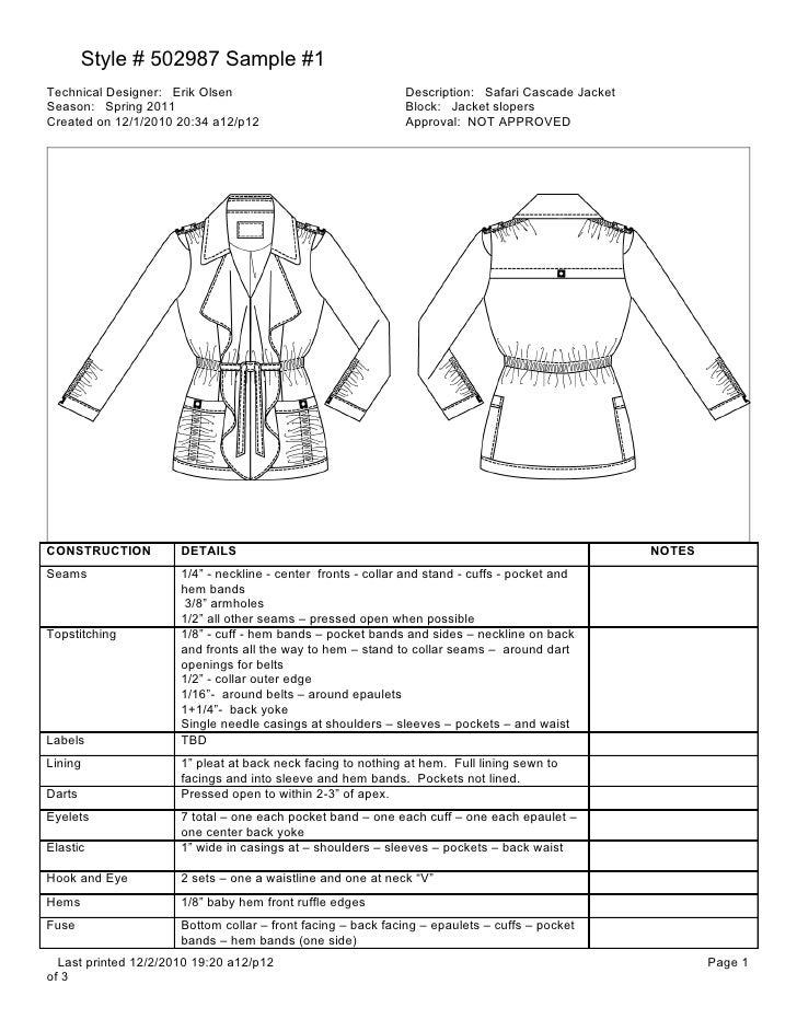 Style # 502987 Sample #1Technical Designer: Erik Olsen                                Description: Safari Cascade JacketSe...