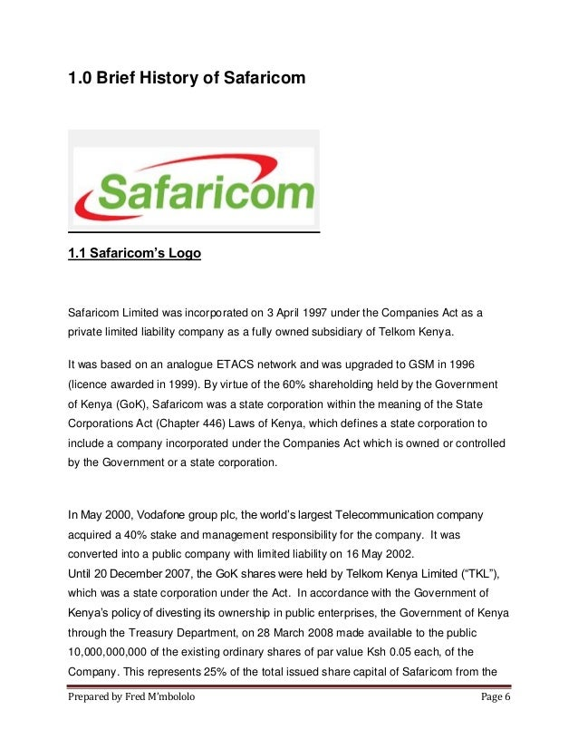 analysis of safaricom kenya Timetric's safaricom limited (scom) : company profile and swot analysis contains in depth information and data about the company and its operations the profile contains a company overview, key facts, major products and services, swot analysis.