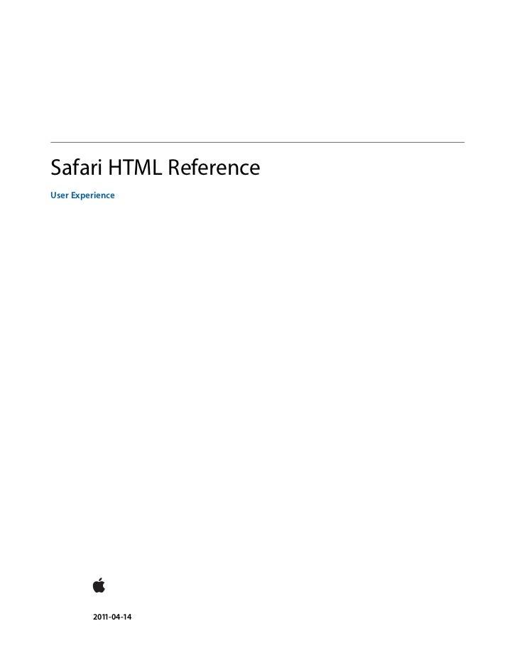 Safari HTML ReferenceUser Experience         2011-04-14