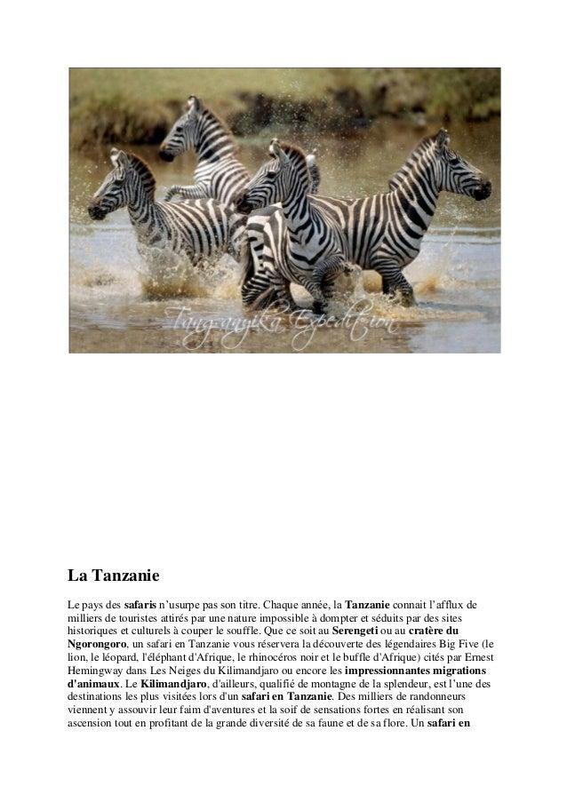La Tanzanie  Le pays des safaris n'usurpe pas son titre. Chaque année, la Tanzanie connait l'afflux de milliers de tourist...