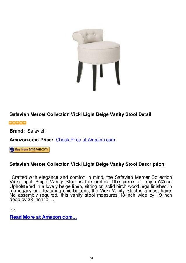 Phenomenal Safavieh Mercer Collection Vicki Light Beige Vanity Stool Evergreenethics Interior Chair Design Evergreenethicsorg