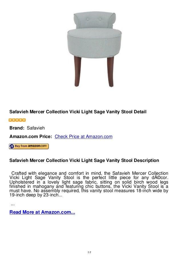 Admirable Safavieh Mercer Collection Vicki Light Sage Vanity Stool Evergreenethics Interior Chair Design Evergreenethicsorg