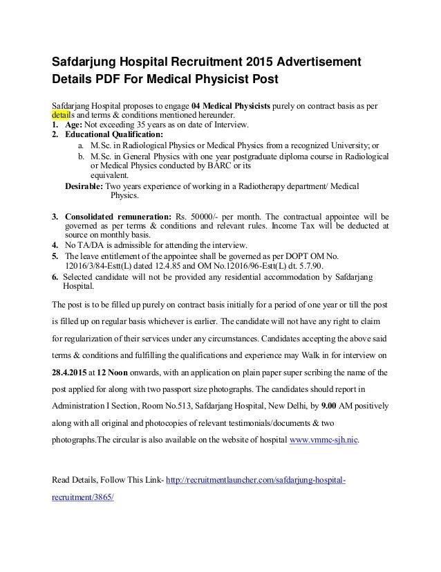 Safdarjung Hospital Recruitment 2015 Advertisement Details PDF For Medical Physicist Post Safdarjang Hospital proposes to ...