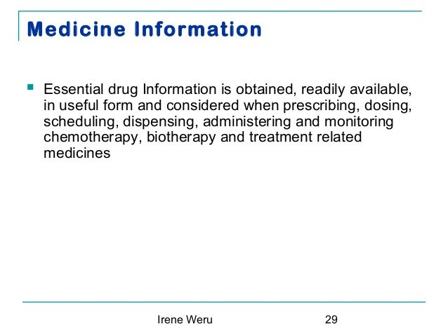 Protocols relevant to the administration of medication