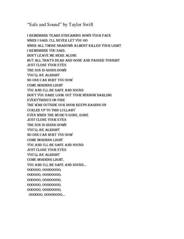 Safe And Sound Lyrics By Taylor Swift