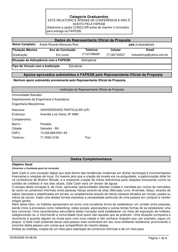 Categoria Graduandos                                 ESTE RELATÓRIO É APENAS DE CONFERÊNCIA E NÃO É                       ...