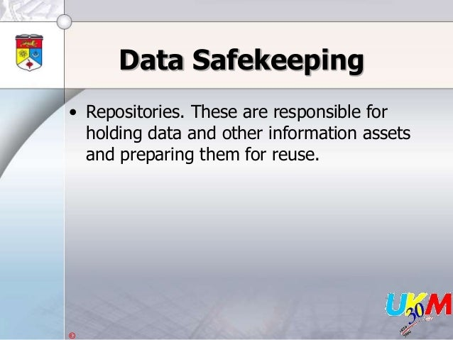 © Data Safekeeping • Repositories. These are responsible for holding data and other information assets and preparing them ...