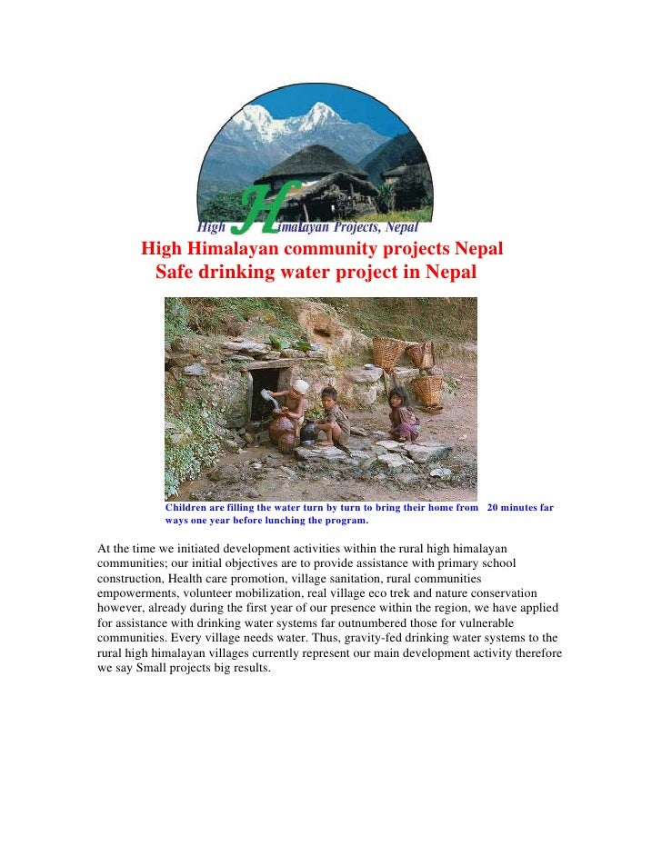 High Himalayan community projects Nepal           Safe drinking water project in Nepal             Children are filling th...