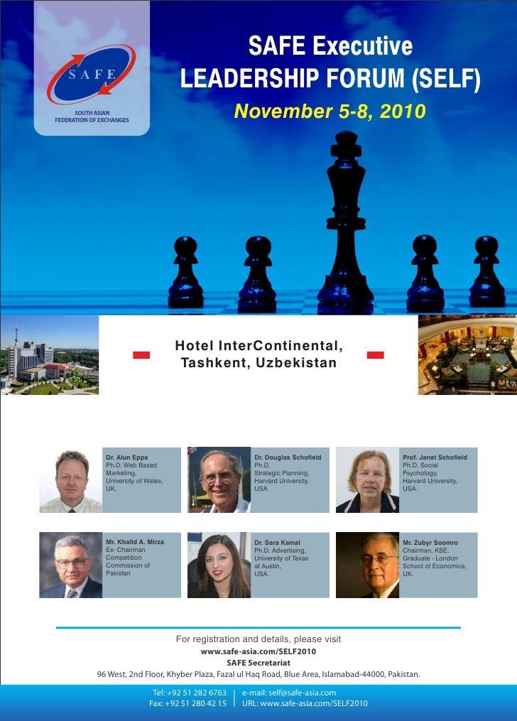SAFE Executive                          LEADERSHIP FORUM (SELF)                                          November 5-8, 201...