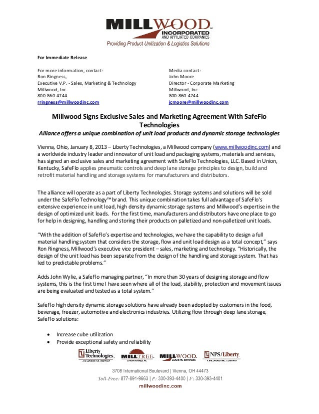 commission sharing agreement template - millwood signs exclusive sales and marketing agreement