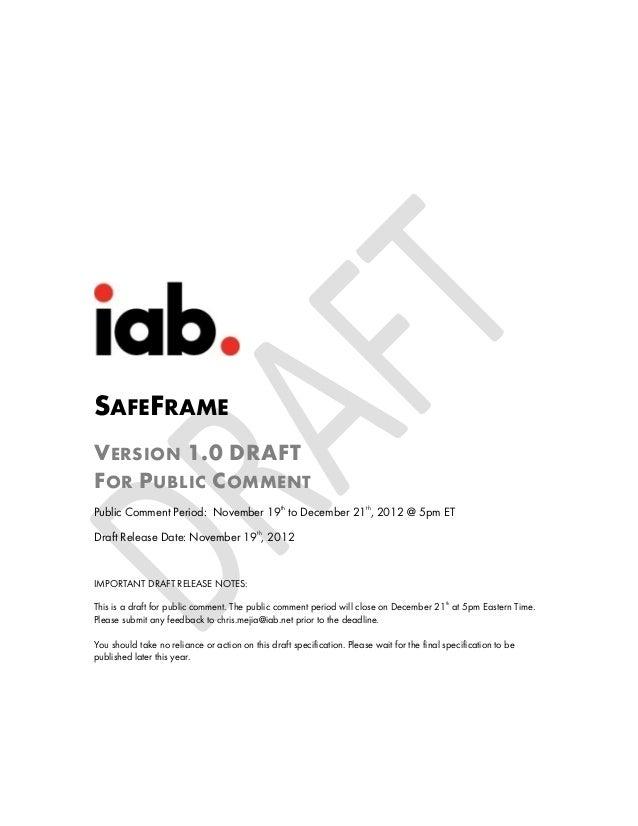 SAFEFRAMEV ERSION 1.0 DRAFTF OR P UBLIC C OMMENTPublic Comment Period: November 19th to December 21th, 2012 @ 5pm ETDraft ...