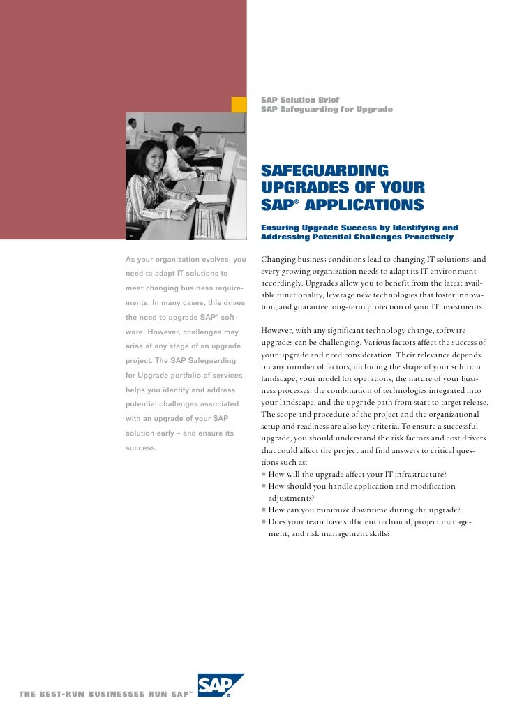 SAP Solution Brief                                    SAP Safeguarding for Upgrade                                    SAfe...