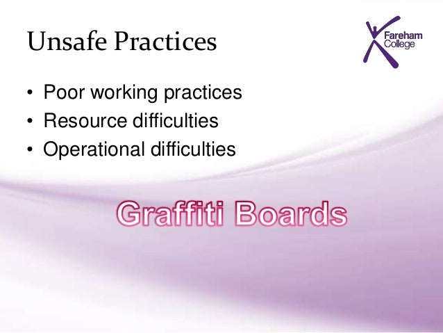 explain the actions to take if unsafe practices have been identified resource difficulties