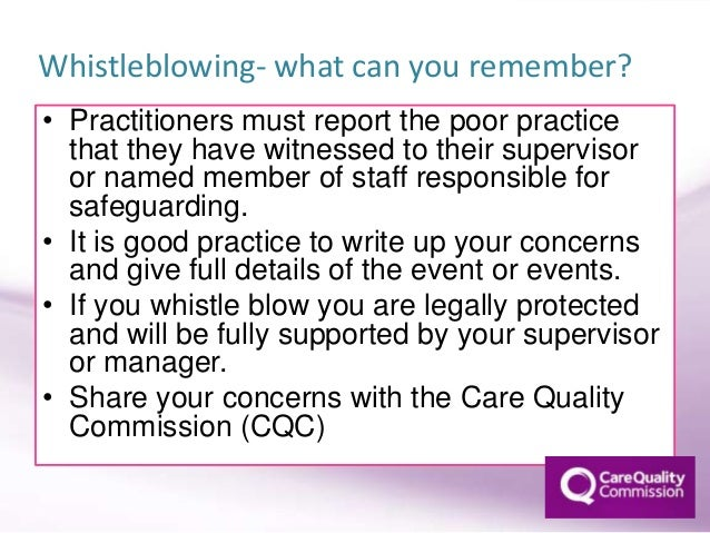 how to report concerns about poor practice