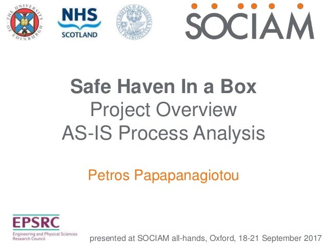Safe Haven In a Box Project Overview AS-IS Process Analysis Petros Papapanagiotou presented at SOCIAM all-hands, Oxford, 1...