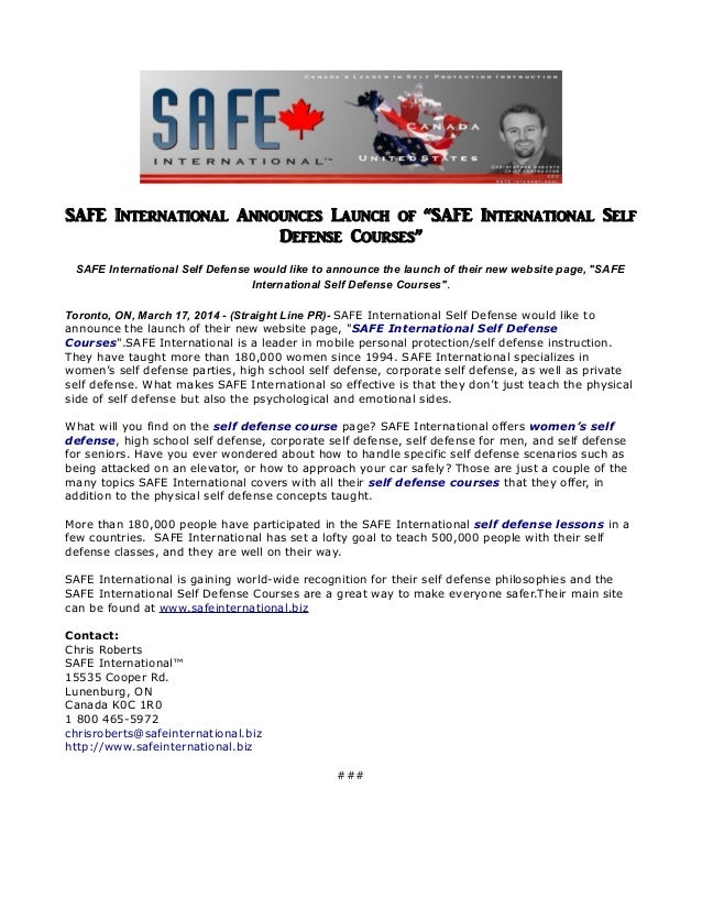 "SAFE International Announces Launch of ""SAFE International Self Defense Courses"" SAFE International Self Defense would lik..."