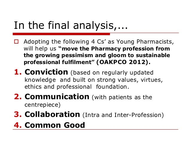 An analysis of the pharmacist profession