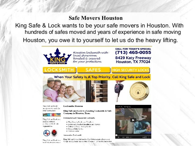 Safe Movers HoustonKing Safe & Lock wants to be your safe movers in Houston. With   hundreds of safes moved and years of e...