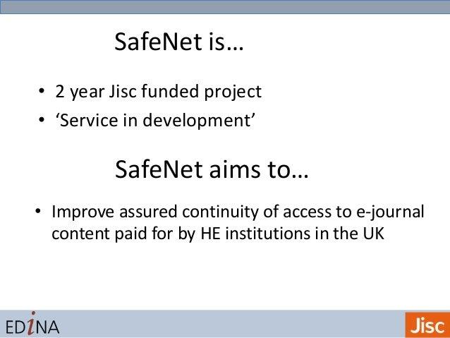 SafeNet: Progress and Data Gathering Slide 2