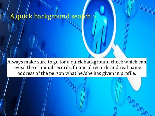 Online dating sites background checks