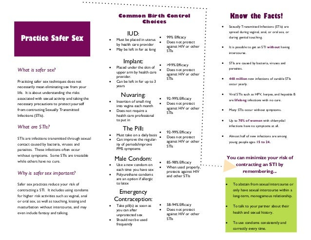 Campus brochures on safe sex