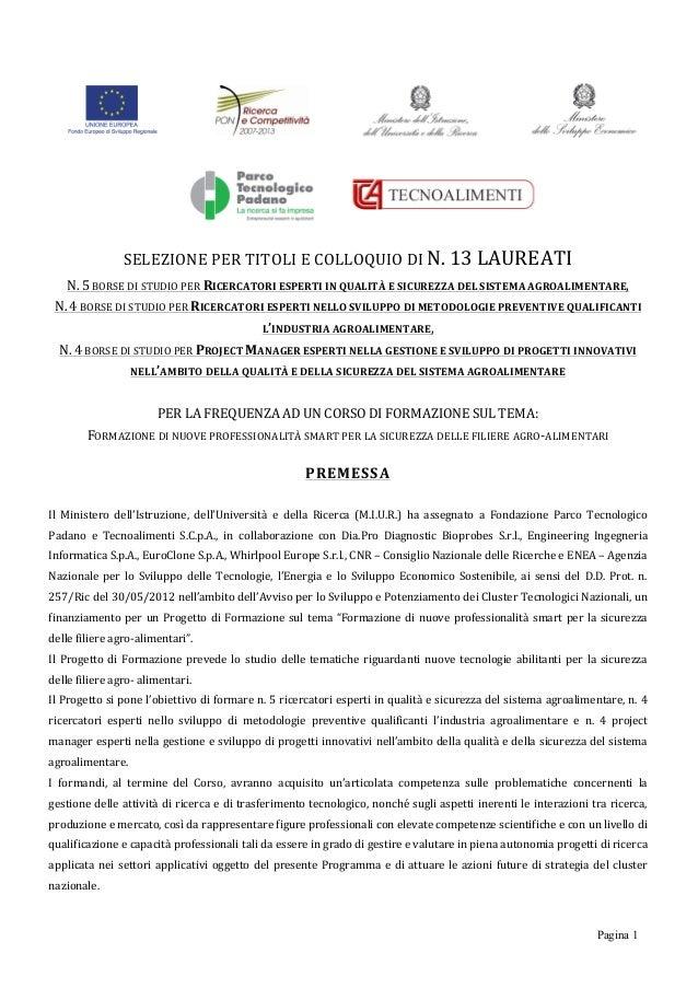 Pagina 1                SELEZIONE  PER  TITOLI  E  COLLOQUIO  DI  N.  13  LAUREATI   N.  5 ...
